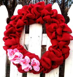 Pink Roses and Burlap Valentine's Wreath