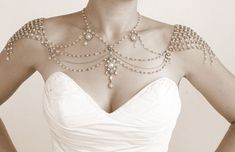 Necklace For The Shoulders,1920s Style,Great Gatsby,Beaded Pearls,Rhinestone,Jazz Age,Gold,OOAK Bridal Wedding Jewelry,Efrat Davidsohn on Etsy, $1,500.00