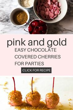 Needing a little to add a little glitz to an upcoming party? Try these chocolate covered cherries homemade. Whip up a batch of them in under ten minutes! With this pink and gold party food ideas tutorial you will learn the step by step recipe directions. And then simply add the cute cherries to a platter and put it on the dessert table ideas birthday. Pink And Gold Birthday Party, Birthday Party At Home, Birthday Party Treats, Gold Party, Dessert Table Birthday, Chocolate Covered Cherries, Homemade Cake Recipes, Recipe Directions, Ten Minutes