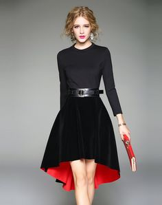 Shop Long Sleeve Belted Velvet Paneled High Low Midi Dress. VIPme.com offers quality Black, Qeexi Skater Dresses at affordable prices.