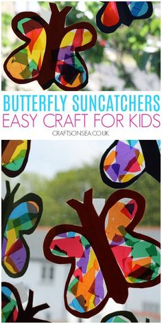 Butterfly Suncatcher Craft - Crafting with Arthur - A simple summer craft for kids to make, these easy butterfly suncatchers look fantastic in windows! Summer Arts And Crafts, Arts And Crafts For Adults, Easy Arts And Crafts, Spring Crafts For Kids, Crafts For Seniors, Summer Activities For Kids, Crafts For Kids To Make, Art Activities, Classroom Activities