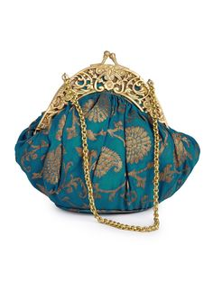 Buy Turquoise Golden Mughal Georgette Brocade Potli Accessories Bags & Belts Twilight Riches Handcrafted Kimkhab Potlis Clutches Online at Jaypore.com Vintage Clutch, Indian Textiles, Embroidered Bag, Beaded Bags, Vintage Handbags, Signature Style, Clutch Purse, Evening Bags, Purses And Handbags