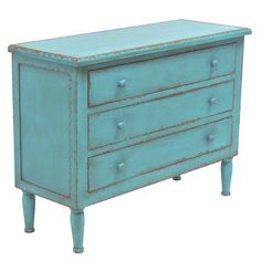 Awash in a distressed blue finish, this 3-drawer chest offers warmly weathered appeal for your home.     Product: Chest