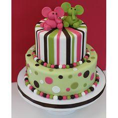 Cocoa & Fig Pink and Green Elephant Cake www.cocoaandfig.com