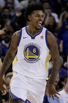 Golden State Warriors' Nick Young celebrates a score against the Philadelphia 76ers during the second half of an NBA basketball game Saturday, Nov. 11, 2017, in Oakland, Calif. (AP Photo/Ben Margot)