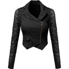Awesome21 Women's Gorgeous Lace Delicate Short Blazer Jacket with... ($30) ❤ liked on Polyvore featuring outerwear, jackets, blazers, short lace jacket, black zip jacket, lace blazer, black lace jacket and black blazer
