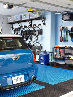This garage has storage space for everything - from gardening gear to sports equipment. Take a cue from its setup for your own garage organization strategy./