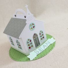 Church Placecard Treat Box by Lizzie Jones for Papertrey Ink (February Gable Boxes, Paper Towns, Scrapbook Paper Crafts, Scrapbooking, Ink Stamps, Paper Houses, Beautiful Gift Boxes, Pattern Paper, Paper Art