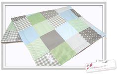 Babydecken - Patchwork/Baby/Krabbeldecke..taupe/grün/h.blau - ein Designerstück von vonkleinan bei DaWanda