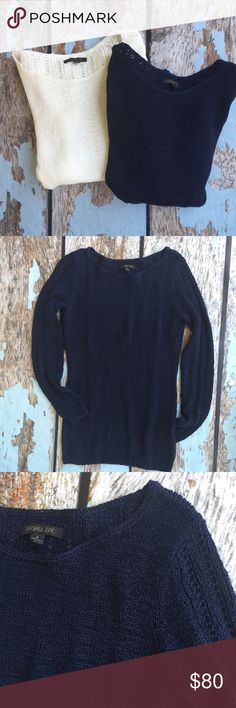 NWOT Rachel Zoe Bundle: Karla Open Knit 2 open knit sweaters by Rachel Zoe. Both size Small. Wanting to sell together. One is navy, one is white but pictures of Navy show details of both. NWOT, never worn. Last 3 photos are stock of a black one. Rachel Zoe Sweaters Crew & Scoop Necks