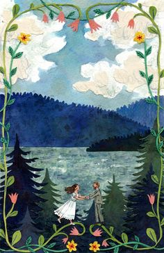 ng invitation I created for a couple getting married on Lummi Island, an island in Bellingham Bay where I grew up. It was such a pleasure to work on, as the blue islands of home are one of my all time favorite views. Watercolor, c Pinturas Art Deco, Naive Art, Children's Book Illustration, Conte, Illustrations Posters, Art Inspo, Folk Art, Artwork, Art Drawings