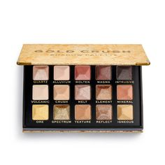 XX Revolution MetaliXX Gold Crush Eyeshadow Palette | Revolution Beauty Official Site Gold Eyeshadow, Eyeshadow Palette, Jasmine Makeup, Avocado Face Mask, Brow Color, Makeup To Buy, Makeup Obsession, Setting Spray, Makeup Revolution