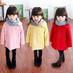 Children's clothing 2016 autumn and winter female child woolen outerwear  medium-long double breasted woolen overcoat