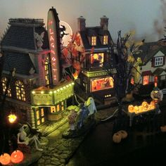 "Halloween Village Display / Department 56 Snow Village Halloween ""LaGhosti Theater"" and ""Helga's House of Fortunes"""