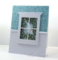window ivy with tiny flowers card by Kittie Caracciolo