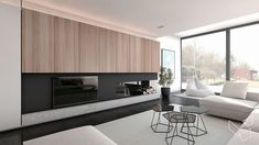 Inrichting Nieuwbouwwoning Lebbeke - Lievois Living Room Tv, Living Room Modern, Living Room Interior, Home Interior Design, Home And Living, Interior Architecture, Living Spaces, Modern Fireplace, Fireplace Design