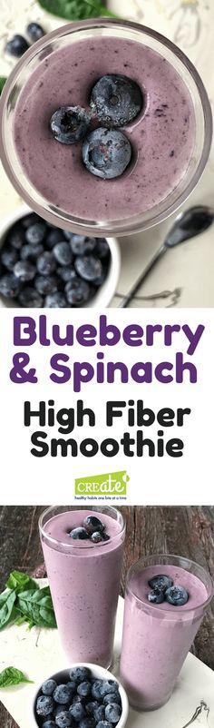 High Fiber Recipes: A superfood smoothie that is packed with nutrition. Blueberries, banana, and spinach blend together in a delicious and high fiber smoothie perfect for breakfast. Made with yogurt and honey, this is a must try recipe. A high fiber meal. High Fiber Smoothie Recipe, Smoothie Recipes With Yogurt, Yogurt Smoothies, Easy Smoothies, Green Smoothies, Diabetic Smoothie Recipes, Blueberry Spinach Smoothie, Superfood Smoothies, High Protein Smoothies