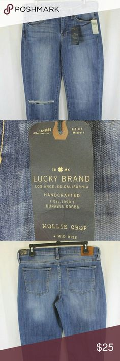 """WOMENS LUCKY BRAND  MOLLIE CROP JEANS 10/30 NWT Measurements (we physically measured this item)  Waist:                                   30"""" Inseam:26"""" Length:35.5"""" Condition:MOLLIE CROP. STRETCH. MID RISE. COTTON/SPANDEX. NEW WITH TAGS.  SOURCED DIRECTLY FROM A MAJOR US RETAILER. Lucky Brand Jeans Ankle & Cropped"""