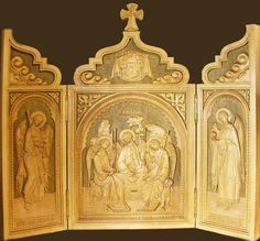 Triptych Icon Holy Trinity Angel Wood Shrine Hand Craft AUTHENTIC Russian