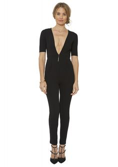 Plunging Neckline Jumpsuit in Black | Necessary Clothing