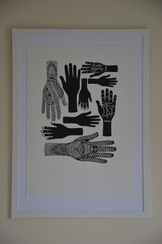 Bertie Smith, Hands of Protection, Lino Print. Printmaking, Hands, Protection Symbol, Art.