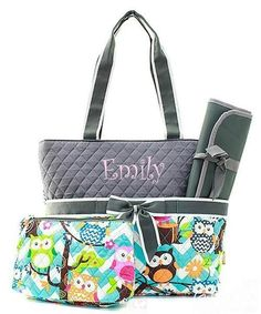 Personalized Owl & Aqua Chevron Quilted 3pc Diaper Bag - Gray