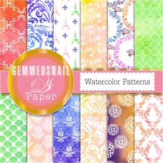 Digital paper watercolor. Watercolor patterns, watercolor and white in various patterns