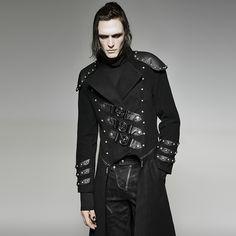 Wadenlanger Gothic- / Military-Mantel mit großen Schnallen von Punk Rave