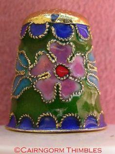 Cloisonne Enamel Thimble Brightly Coloured Flowers