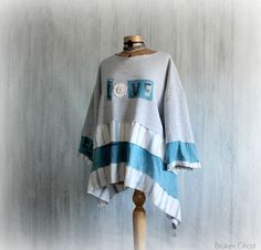 Grey Slouchy Sweatshirt Upcycled Clothing by BrokenGhostClothing