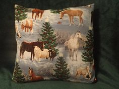 Decorative Pillow Cover Christmas Horse by DoodlebugsTreasures