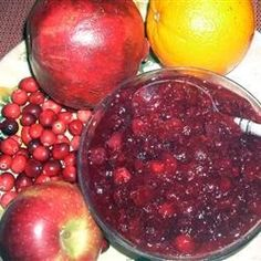 Cranberry pomegranate sauce. This is a delicious fruit-filled version of cranberry sauce.  The pomegranate is cooked separately to facilitate seed removal, then both parts are combined to finish cooking. It's wonderful as an accompaniment for poultry, and can be made into a lovely trifle-type dessert with vanilla pudding and pound cake.