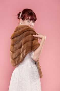 Fur stole in case it gets chilly on your big day. #vintage #fur #genuine #mink #stole #1950s $89
