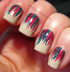 Festiveness Ribbons | Creative nail design by Sue