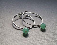 Large Silver Hoop Earrings with Seafoam Green. Bridal Jewelry. Simple Hoops. Beaded Hoops