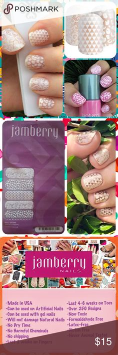 """JAMBERRY White Wedding Mixed Manicure Nail Wraps ❤️❤️ 1 Full Sheet of Jamberry Vinyl Nail Wraps in the style """"Leo, Geo, and Lace"""" - a gorgeous mixed manicure with white leopard spots, geometric shapes, and scrolling lace on a clear background. Great for layering over nail polish, since color shows. Matte finish. Regular/ Adult size. Enough for up to 2 manicures + 2 pedicures + many accent nails. PRICE FIRM unless bundled. Need other colors? Please visit my Posh closet! ❤️❤️…"""