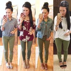 My closet How to style olive pants, olive pants outfits