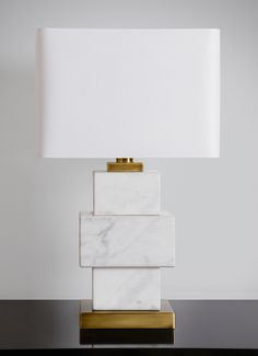 Triple white Dionysos marble lamp with gold details