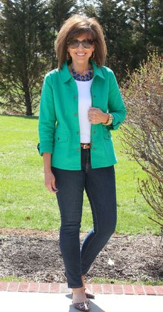 I love the jacket, the teal color I really like, just don't like the shoes.