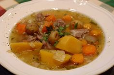 Traditional Icelandic meat soup at the farm Árnanes located on South East Iceland.