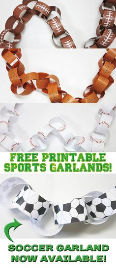 Free printable sports themed garlands. Soccer ball garlands now available! Visit my site for the downloadable templates.