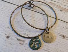 Vintaged Patina Lucky 13 Charm Bracelet by RingAroundRosey on Etsy