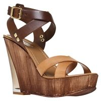 Carvela Koffee Leather Cross Strap Wedge Sandals - ladies-designer-shoes.co.uk