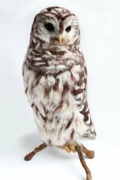 READY TO SHIP! This needle felted barred owl stands close to 18 inches high. The barred owl was needle felted over a sturdy wire armature . What a talented artist! Felt Owls, Felt Birds, Felt Animals, Needle Felted Owl, Owl Templates, Barred Owl, Wool Art, Animal Sculptures, Bird Sculpture