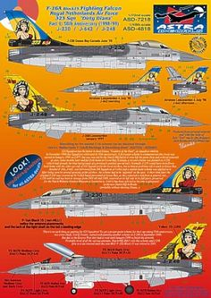 F-16A Block 15 Fighting Falcon Royal Netherlands Air Force 323 Sqn Dirty Diana J-248: 50th Aniversary 1998-99 F 16 Falcon, Military Aircraft, Netherlands, Air Force, Decals, Diana, 50th, Models, Colors