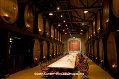 Wine cellars at Merryvale, where not only wine tasting is conducted but elaborate dinners are served. .