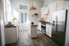 I want this skinny kitchen island!!! Magnolia Homes Fixer Upper