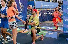 Finish line proposal at New York City Marathon 2015  Use hashtag #wonderful_running and join the movement.  Photo credit: tcsnycmarathon.org!