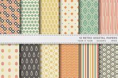 12 Retro Digital Papers by AzmariDigitals on Creative Market