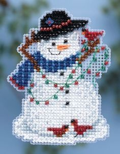 "MH184301 - Snow Fun (2014) - Mill Hill - Seasonal Ornament - Winter Holiday Kit Includes: Beads, treasures, 14ct perforated paper, floss, specialty threads, needles, chart, magnet and instructions. -1 of 6 designs Size: 2.5"" x 2.5"""